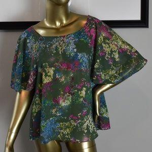 JACK Womens Designer Floral Sheer Blouse Top S